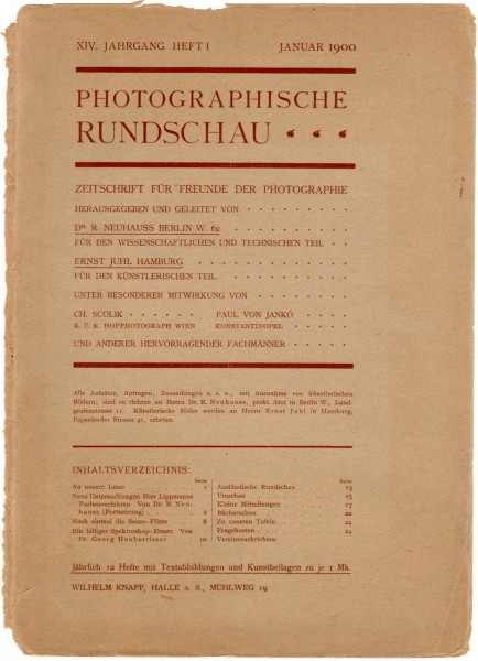 Journal cover:  Photographische Rundschau- January, 1900