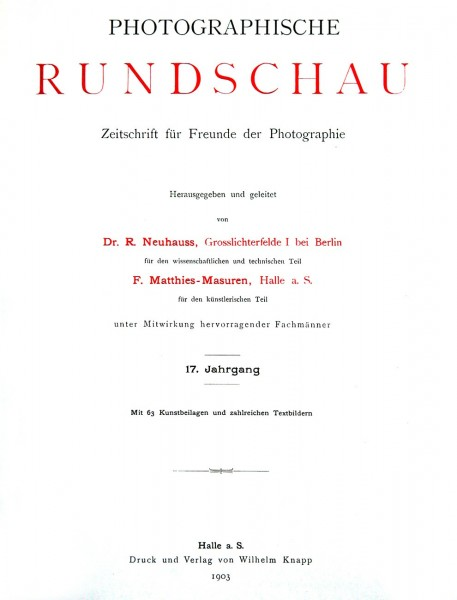 Title page:  Photographische Rundschau- 1903