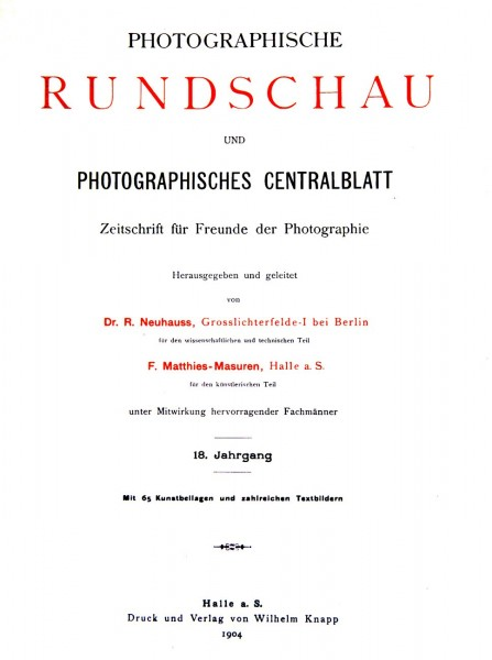 Photographische Rundschau : 1904