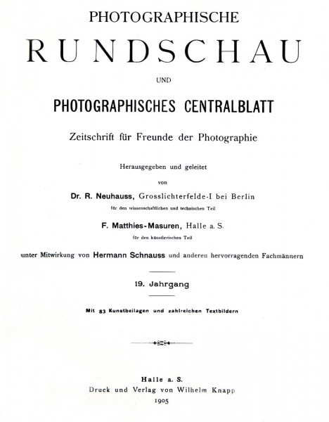 Title page:  Photographische Rundschau- 1905