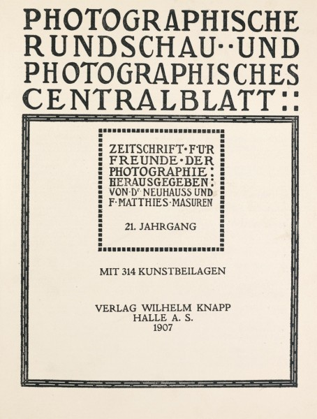 Title page:  Photographische Rundschau- 1907