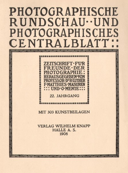 Photographische Rundschau : 1908