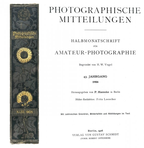 Backstrip & title page:  Photographische Mitteilungen- 1906