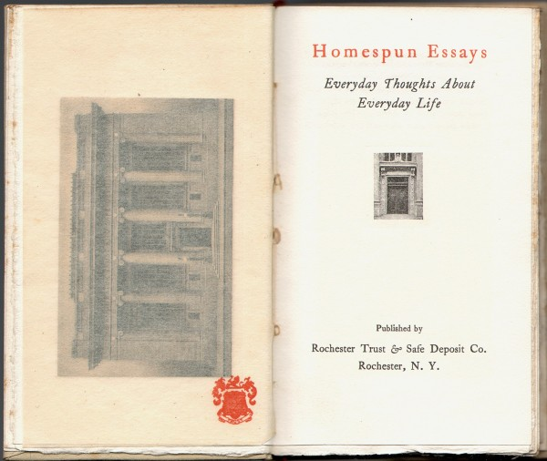 Title page: Homespun Essays