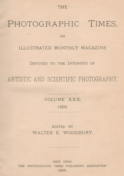 Title page: The Photographic Times: 1898
