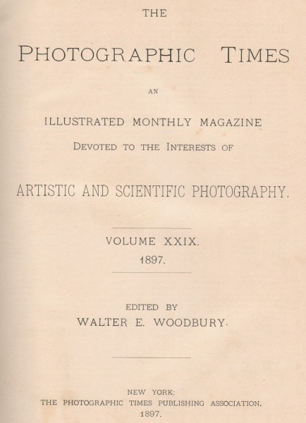 Title Page: The Photographic Times: 1897