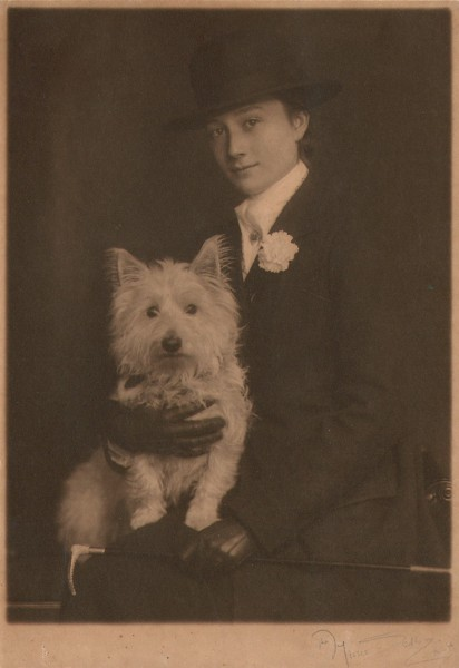 Woman with her West Highland White Terrier