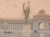 Gondolier passing Statue of the Republic: World's Columbian Exposition