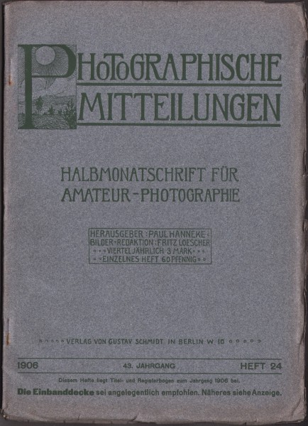 Journal Cover: Photographische Mitteilungen 1906