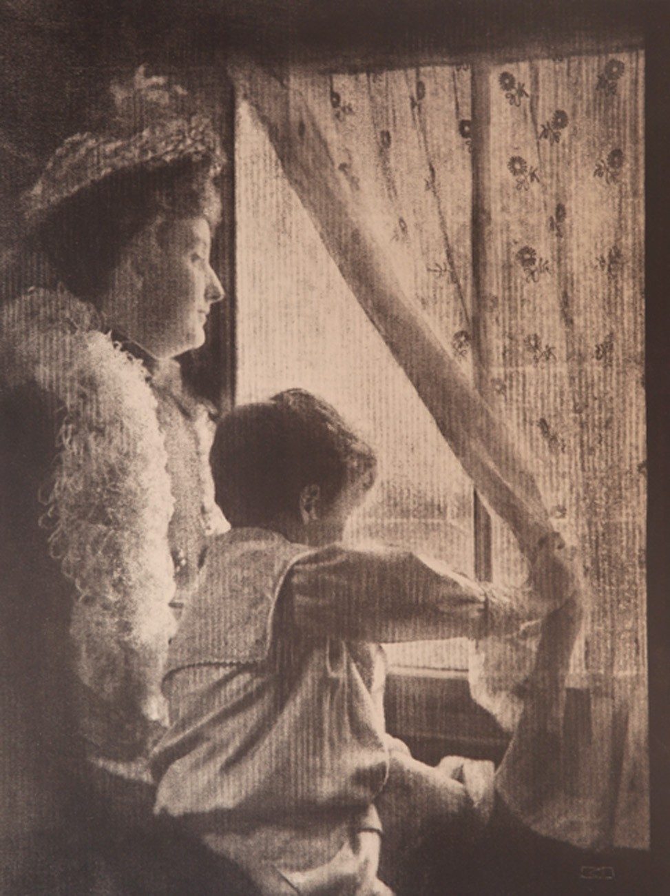 Woman And Child Looking Out Window Photoseed