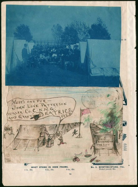 Nebraska National Guard Folk Art Envelope & Cyanotype