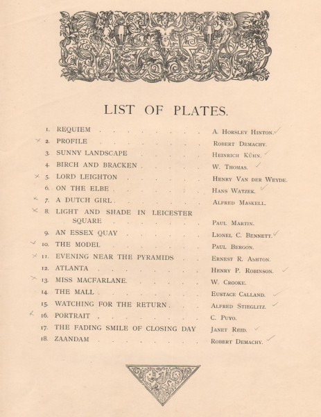 Plate List: Pictorial Photographs 1896