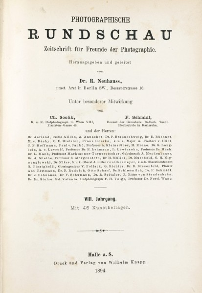 Title page:  Photographische Rundschau- 1894