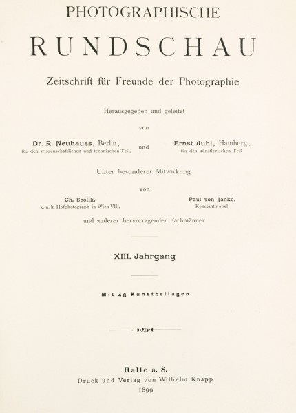Photographische Rundschau : 1899