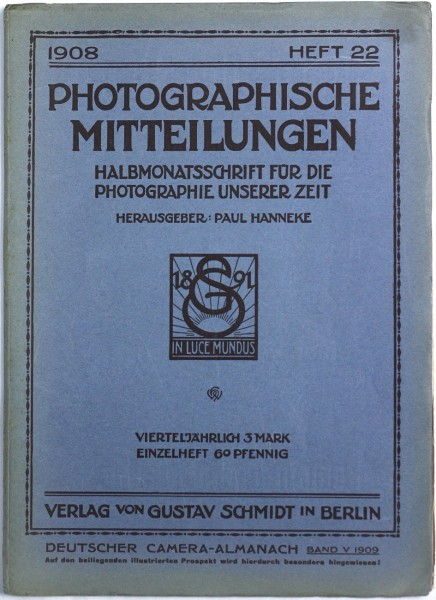 Journal Cover: Photographische Mitteilungen 1908