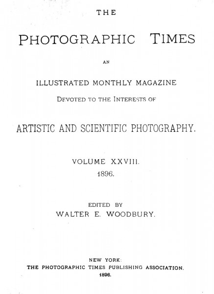 Title Page: The Photographic Times: 1896