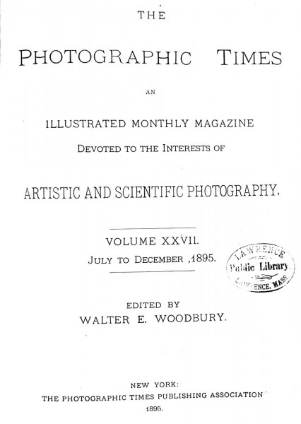 Title page: The Photographic Times: 1895: July-December