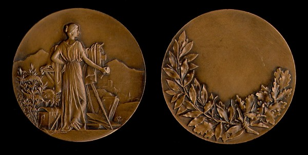French Bronze Art-Nouveau Photographic Medal