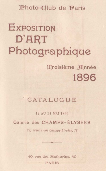 Title page: 1896 Exposition d'Art Photographique Salon Catalogue