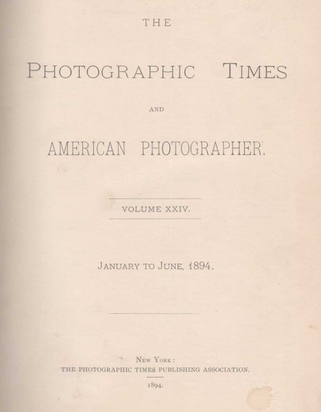 The Photographic Times: 1894: January-June