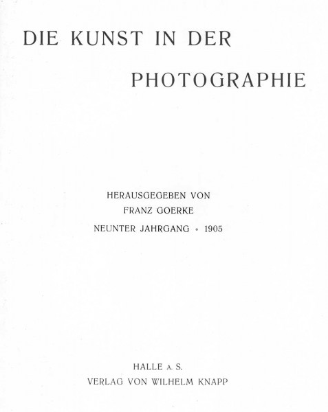 Title Page: Die Kunst in der Photographie